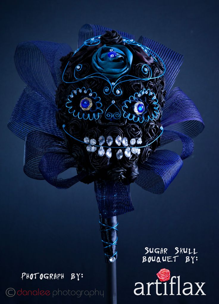 Sapphire sugar skull flax flower bouquet designed and created by Sema Morris from Artiflax Limited Photograph by Dana Lee Photography