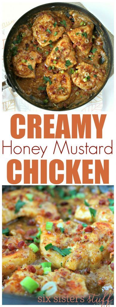 Creamy Honey Mustard Chicken from SixSistersStuff.com | This chicken breast recipe with a creamy sauce and bacon bits on top is a dinner everyone will love!