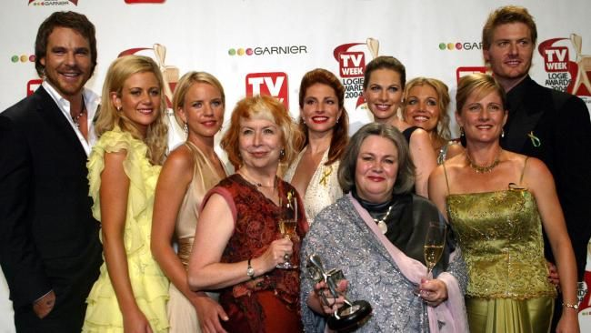 Logies 2004 Aaron Jeffrey, Rachael Carpani, Jessica Napier, Unknown, Simmone Jade MacKinnon, Unknown, Lisa Chappell, Bridie Carter, Sonia Todd and Myles Pollard