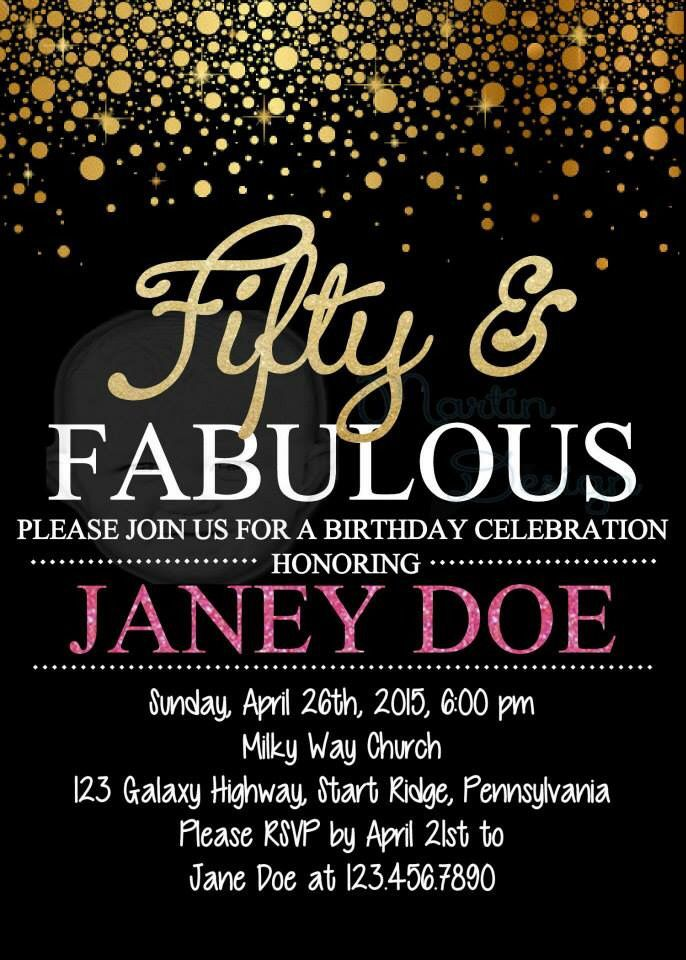 Fifty And Fabulous Birthday Party Invitation Made By