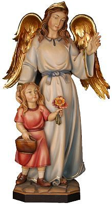 Angels - Guardian angel with girl, religious gift, present for art lovers, angel of protection, wooden statue/figurine from Val Gardena in Italy, handmade with high quality types of wood