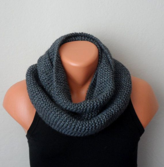 gray men knit scarf gray winter scarf chunky men scarf