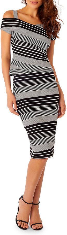 5Twelve Striped Midi Pencil Skirt, Black/White