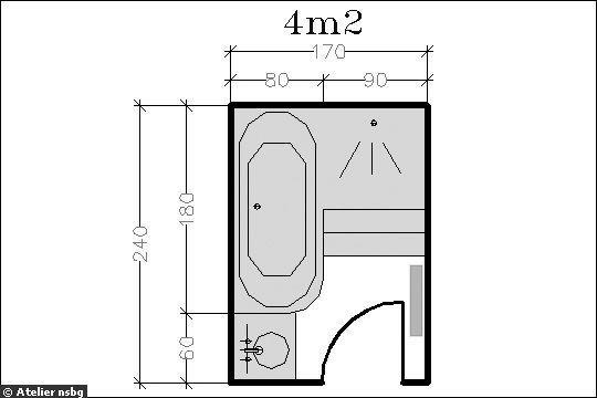 Surface de 4 m le plan d 39 une petite salle de bains avec for Plan salle de bain avec douche