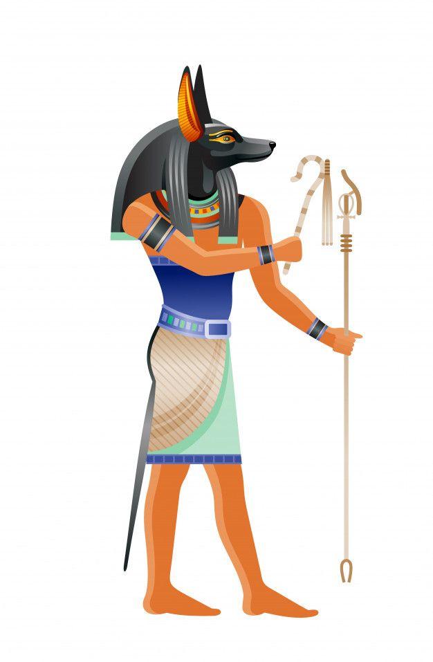 Antiguo Dios Egipcio Anubis Deidad Con Cabeza Canina Ilustracion