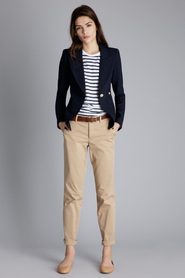 Women's Navy Blazer, White and Navy Horizontal Striped Crew-neck T-shirt, Light Brown Chinos, Brown Leather Ballerina …