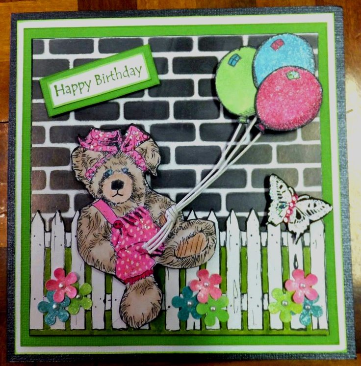 My 'Becky' Bear card using Kaszazz Alcohol Ink Markers and new Brick Stencil.