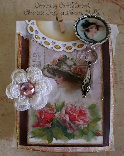 Chocolate Crafts and Bears, Oh My: Vintage Altered Small Glassine Bag and Altered Bottle Cap with Charm