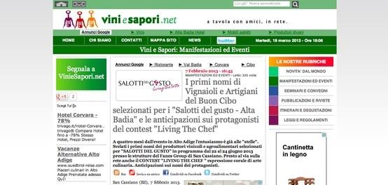 I Salotti del Gusto su Vini e Sapori http://www.viniesapori.net/articolo/i-primi-nomi-di-vignaioli-e-artigiani-del-buon-cibo-selezionati-per-i-salotti-del-gusto-alta-badia-e-le-anticipazioni-sui-protagonisti-del-contest-living-the-chef-0702.html