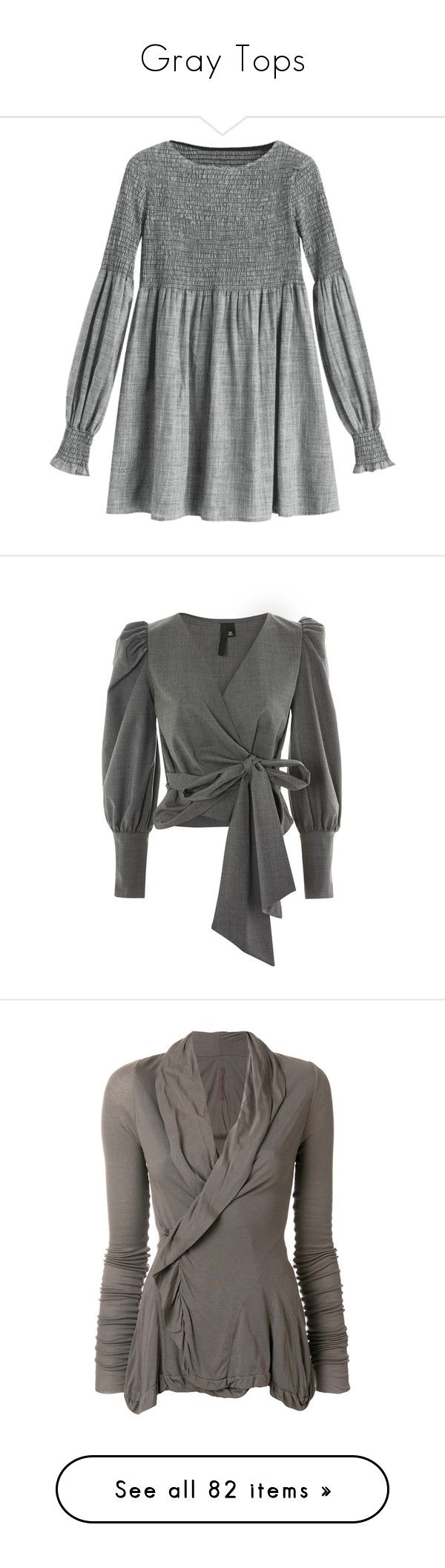 """Gray Tops"" by kikikoji ❤ liked on Polyvore featuring zaful, tops, blouses, topshop, grey, topshop blouses, long sleeve wrap blouse, wool top, topshop tops and long sleeve blouse"