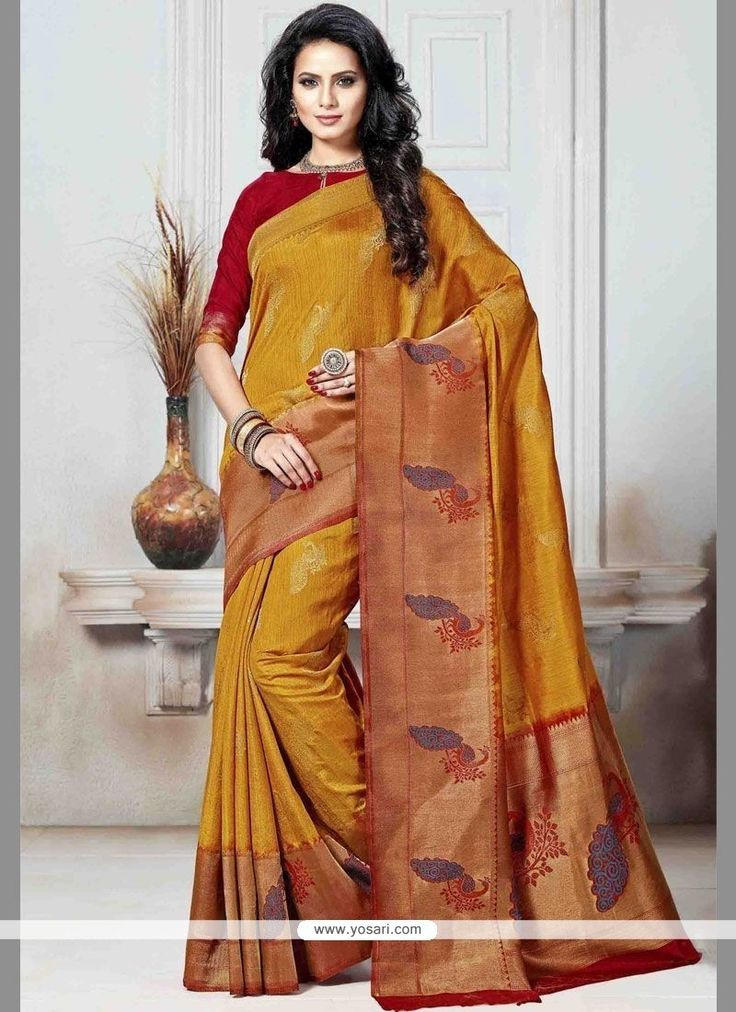 Art Silk Mustard Weaving Work Traditional Designer Saree