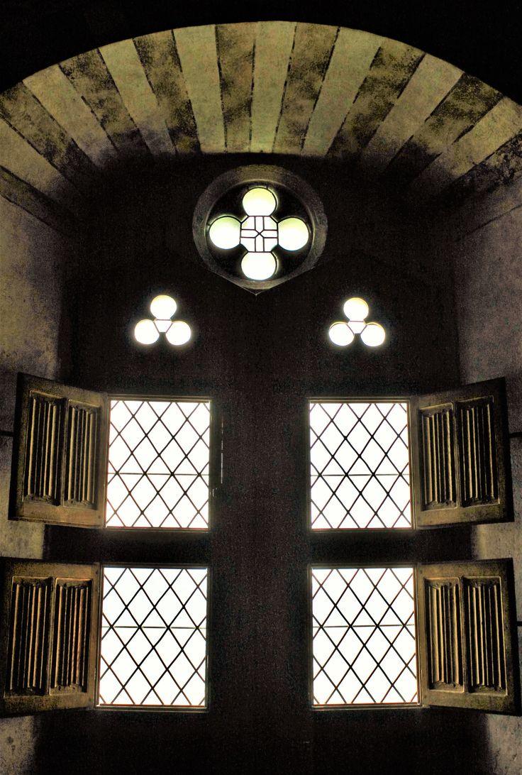 Windows of a medieval castle - cstle Chillon, Switzerland.