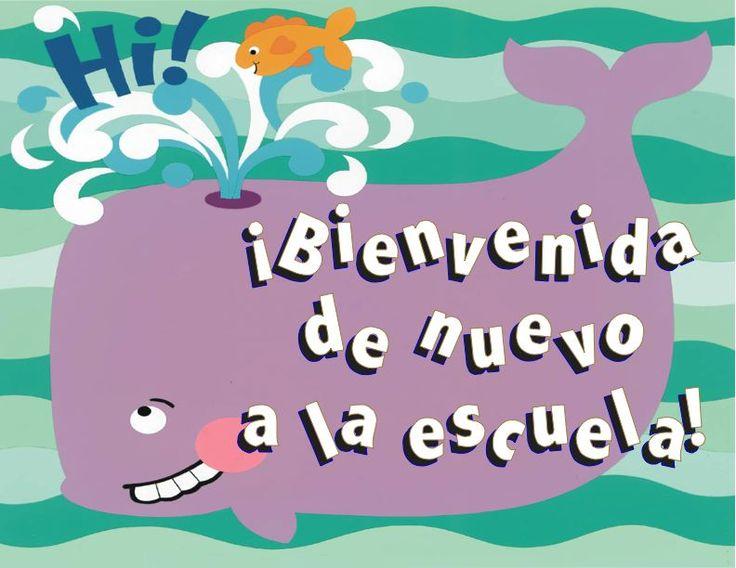 Bienvenida de Nuevo a la escuela (Welcome Back to school)- Back to School Sign in Spanish- whale and fish design