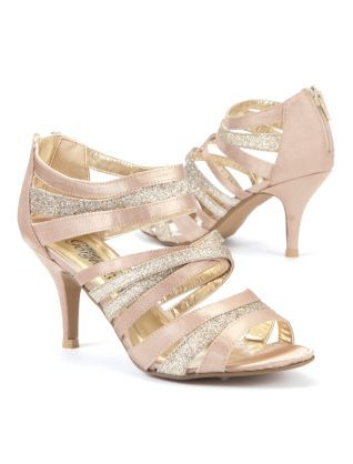 Gold and pink glitter shoes, pumps, low heel, open toe