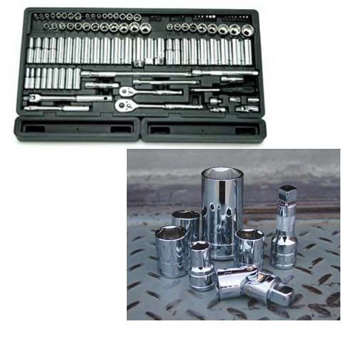 106 Piece 1/4-Inch and 3/8-Inch Drive 6-Point Socket Set in Blow Molded Organizer Tray