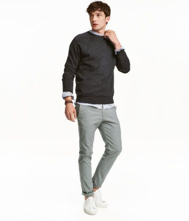 Chinos Skinny Fit in colors: Dark Teal, Gray, Black, and Bright Blue