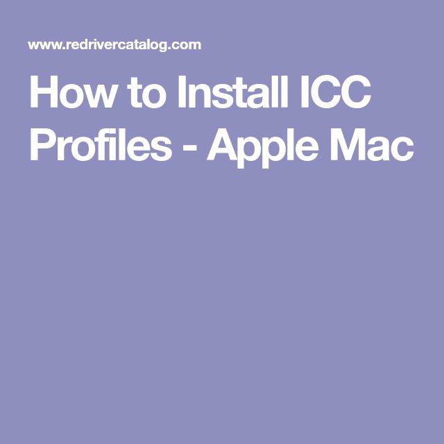 How to Install ICC Profiles - Apple Mac