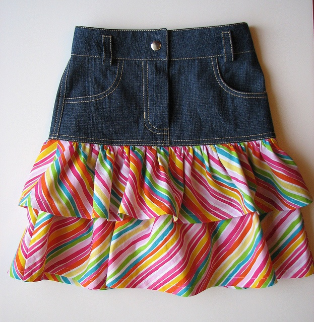 Ideas to lengthen a jean skirt for the little Miss or making a skirt from jean shorts.  Ottobre 1/2011 Denim Skirt by Renee63, via Flickr