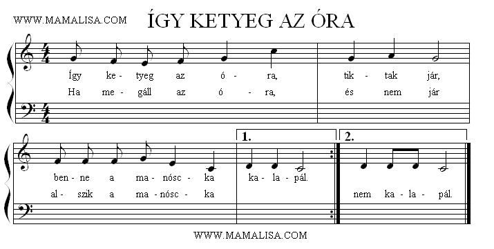 Sheet Music of Így ketyeg az óra - Hungarian Children's Songs - Hungary - Mama…