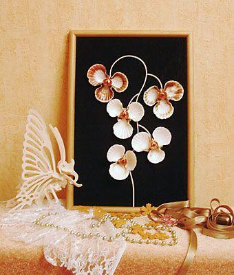 """Мастер-класс. Панно """"Орхидея"""" из ракушек.: Cailloux Peintscoquillag"""