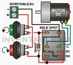 Я предлагаю эта схема позволяет вращения двигателя постоянного тока в обоих направлениях движения с помощью двух кнопок. Используйте инвертор двойное реле (DPDT) изменение полярности двигателя и диод которые отвечают за подачу цепь, когда одна из кнопок нажата. Для использования необходимо, чтобы напряжение питания равно реле и двигателя. Для получения тока более 0,7 А двигателя необходимо использовать диод, и релейные выключатели, которые способны медведя.