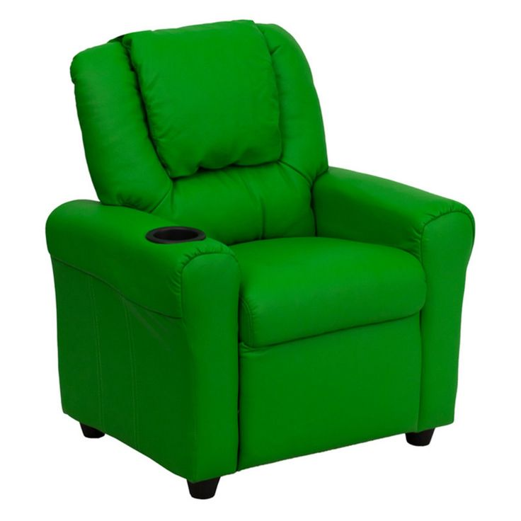 Flash Furniture Vinyl Kids Recliner with Cup Holder and Headrest - Green - DG-ULT-KID-GRN-GG