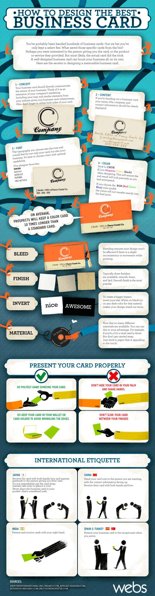 How to Design the Best Business Card [Infographic] via Webs