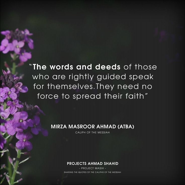 The words and deeds of those who are rightly guided speak for themselves.They need no force to spread their faith.  Scroll down ⛛ to read the full quote. ⬇  Information ℹ Project: Masih Published: 30/09/2017 Licence: CC0 1.0 Universal  Credits  Source: https://unsplash.com/photos/aDzl79iRNno Photographer: Cristiane Teston @cris_teston  Content  Author: Hazrat Mirza Masroor Ahmad (aba) Reference: http://www.reviewofreligions.org/2709/a-symbol-of-peace/  Full Quote  Islam says there shoul...
