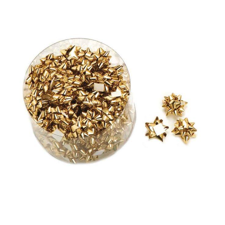 Lazos pompones decorativos de color oro, especial para joyerías, platerías y regalos pequeños. Bote de 100 unidades