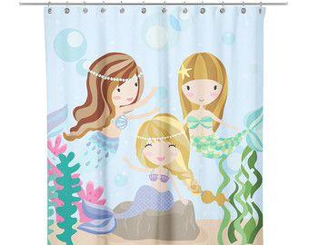Under the Sea Mermaid Friends Shower Curtain - Kids Shower Curtain - Mermaid Shower Curtain - Little Mermaid Shower Curtain