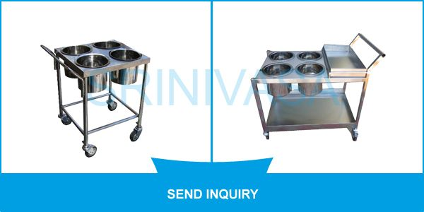 #SME These #trolleys are provided with four separate sections to keep different food items. Widely used in canteens, these vessel trolleys are made out of sterilized stainless steel obtained from certified vendors present in market. Available in different sizes, our entire stock of Four Vessel Trolley is offered in market at cost effective prices.