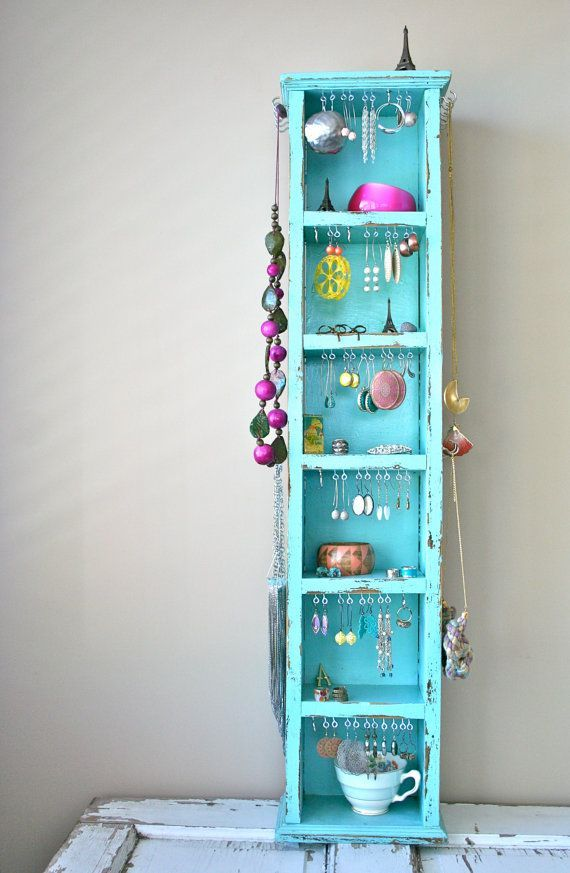 turquoise tall wooden jewellery organiser - Google Search