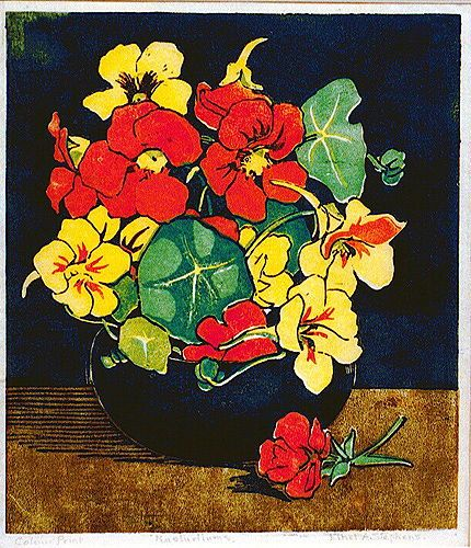 Ethel A. Stephens (1855-1944).  Nasturtiums. 1931. Colour linocut.