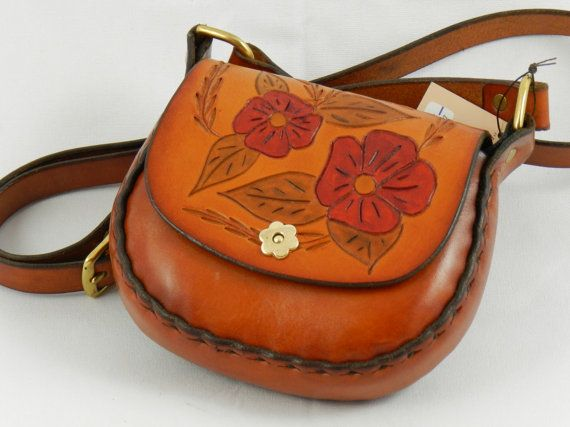Handmade Latigo Bag - Carved and tooled Red Flowers, hand-dyed and hand-stitched - Solid Brass hardware with magnetic clasp. (Kaw Valley Leather)