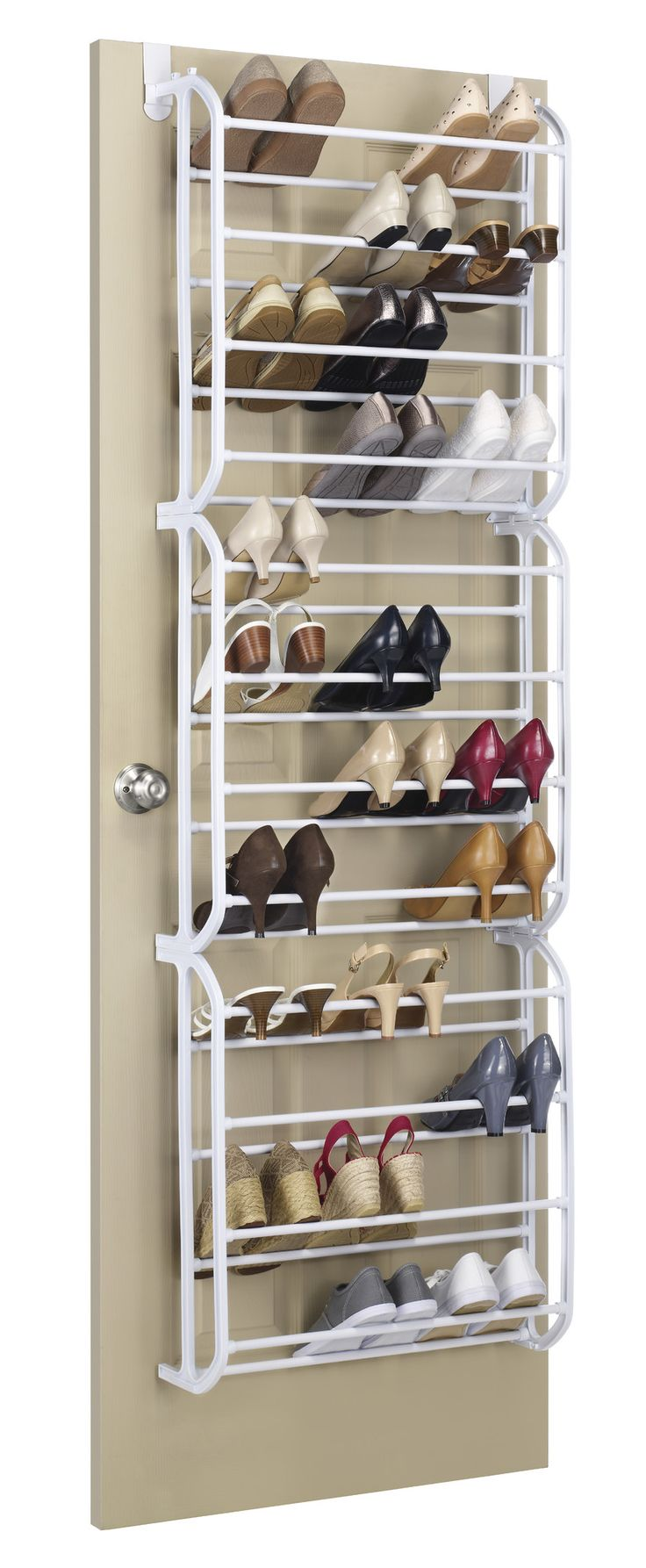 Features:  -Hangs over an inside door.  -Holds 36 pairs of shoes.  -Made of sturdy white resin.  -1 Year warranty.  -Does not have any screw holes to make it be permanently install.  -Door hooks mater