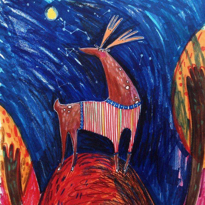 Сообщество иллюстраторов | Иллюстрация Оля Малютка - Оленик осени. Графика, Декоративный, Детский. Графика, Карандаш, Смешанная техника