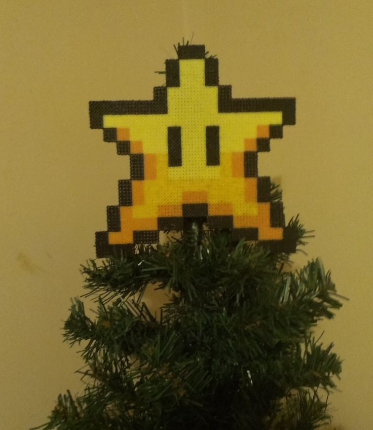 Super Mario Star Christmas Tree Topper. Have a Retro Christmas!! by PixelBeadPictures on Etsy https://www.etsy.com/listing/212000295/super-mario-star-christmas-tree-topper