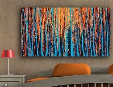 oil painted canvas wall art abstract bush fire tree painting linea blue orange