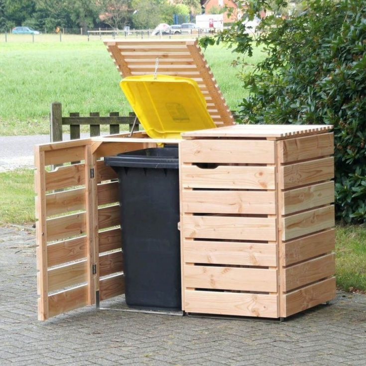 Outdoor:Rolling Trash Bin Wood Kitchen Trash Can Outdoor Storage Bins For Trash Cans Office Trash Cans Cuisinart Trash Can Vinyl Trash Can Enclosure Outdoor Trash Can Storage