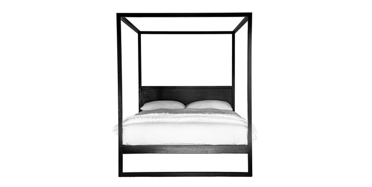 JUST IN! - Reminiscent of exotic travels, the Strand Poster Bed is beautifully earthy and naturally modern. Fun and simple design that is both functional and artistic. This stunning solid teak bed is a simple and beautiful piece that will last a lifetime. In black or reclaimed timber, queen and king sizes | Available at www.greendesigngallery.com/products/strand-poster-bed-black in collab with amazing #uniqwafurniture #bed #bedroom #interiordesign #contemporary #sustainable #designer #luxury