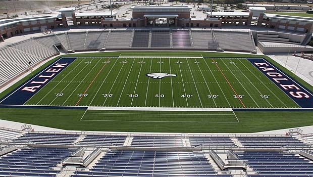 North of Dallas, Allen High School's new Eagle Stadium will seat 18,000 fans. The stadium cost ($)59.6 million and was funded by a voter-approved bond. The complex has over 5,000 parking places and sits on more than 70 acres.