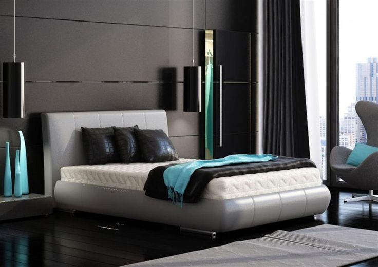 Fair Turquoise Accent Bedroom With Black Pendant Light Above Side Table And Wooden Floor