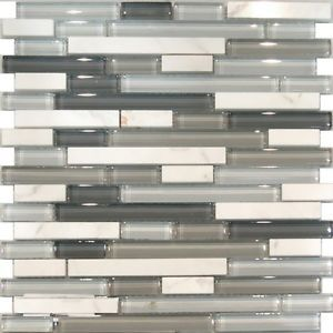 Sample Carrara White Marble Gray Glass Linear Mosaic Tile Kitchen Backsplash | eBay