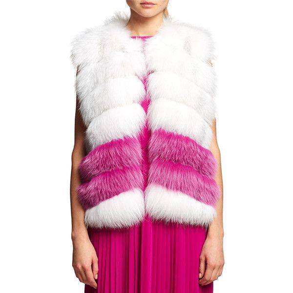 Oscar De La Renta Fox Fur Chiffon-Trim Vest ($6,500) ❤ liked on Polyvore featuring outerwear, vests, arctic marble, striped vest, fur gilet, white waistcoat, white fur vests and fur vests