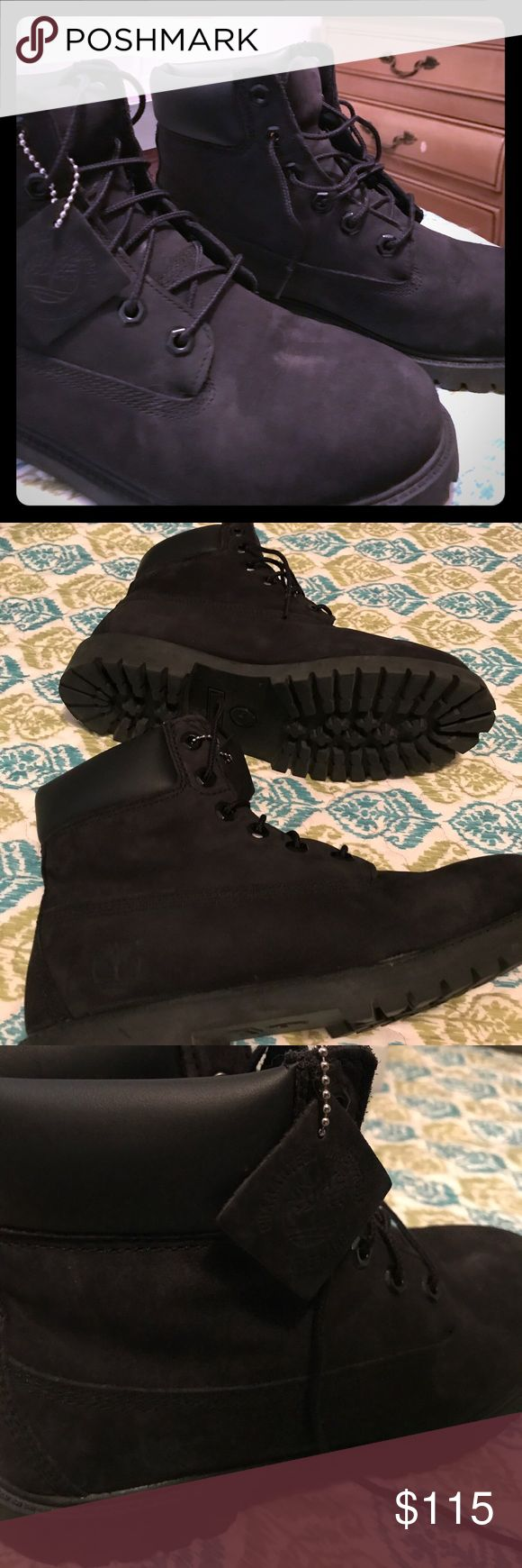 Twice-worn all black Timberland boots I LOVE these boots, but after wearing them twice, seasons had changed and I'm not longer in need of boots. Timberland Shoes Combat & Moto Boots