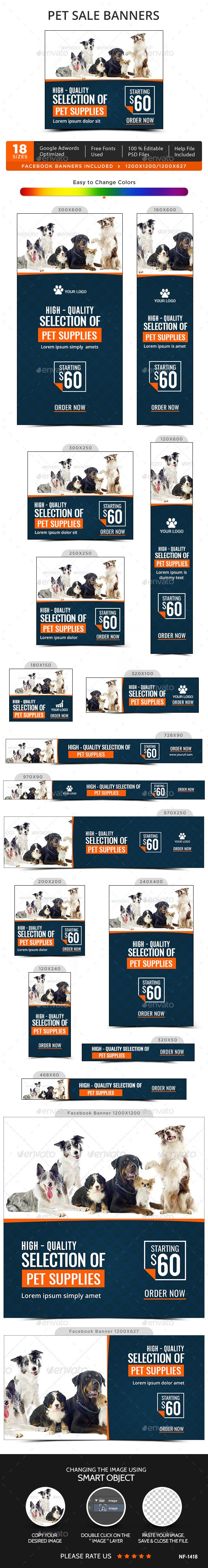 Pet Sale Banners Design Template - Banners & Ads Web Template PSD. Download here: https://graphicriver.net/item/pet-sale-banners/17076219?s_rank=276&ref=yinkira