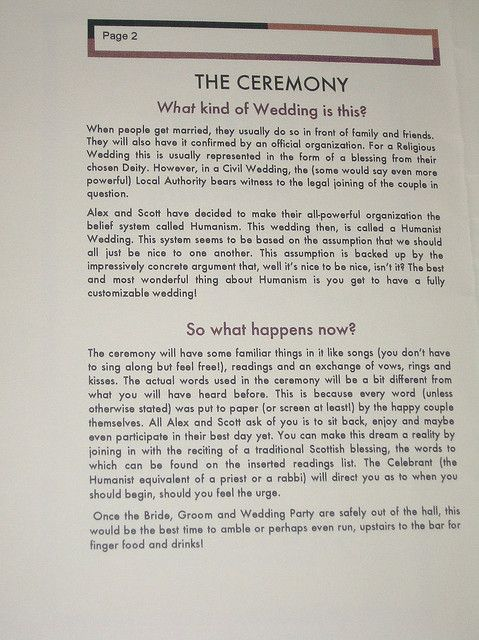 wedding program - You might want to have something like this for your guests who don't know a lot about your religion :)