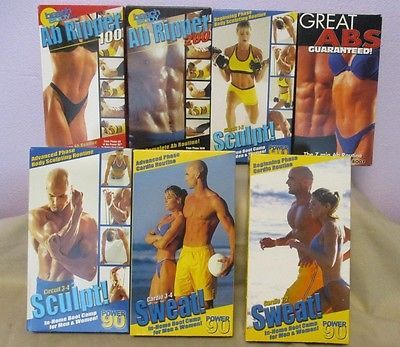 Workout VHS Tapes Lot Of 7 Ab Ripper Cardio Sculpt Sweat Power 90