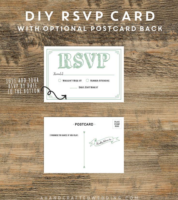 diy rsvp postcard template a handcrafted wedding diy rsvp wedding invitations pinterest. Black Bedroom Furniture Sets. Home Design Ideas