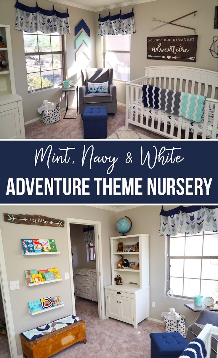 Adventure Themed Nursery in Mint, Navy and White | Baby Boy Nursery | Woodsy Nursery | Woodland Nursery | Nursery Decor | Outdoor Nursery Theme | How to Decorate a Nursery | Nursery Inspiration | Cute Nursery | Cute Boy Nursery | Mint and Navy Nursery | Wood Decor | Wood Toy Box | Arrows in Nursery | Arrow Decor | Campfire Nursery | Camping Themed Nursery | Neutral Nursery